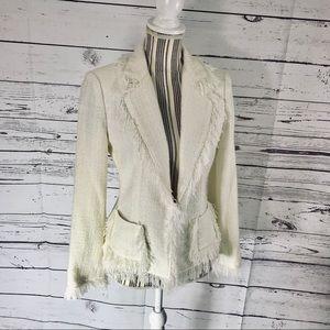 Cabi EUC Winter White Fringed Blazer Size 4